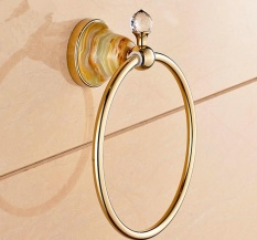 Gaya Eropa Kamar Mandi Penuh Tembaga, Gaya Eropa Handuk, Emas Bertatahkan Permata Giok Towel Ring Boutique Kamar Mandi Kamar Mandi Liontin-Internasional