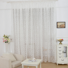 Review European Style Jacquard Design Home Decoration Modern Curtain Tulle Fabrics Organza Sheer Panel Window White