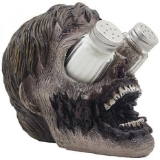 Evil Undead Zombie Head Glass Salt and Pepper Shaker Set with Display Stand Holder Figurine for Scary Halloween Decorations or Spooky Kitchen Decor Table Centerpieces As Decorative Gothic Gifts - intl