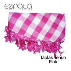 Toko Ezpata Taplak Meja Makan Kain Tenun Pinggiran Rajut Benang Ukuran 134X192Cm Pink Ezpata