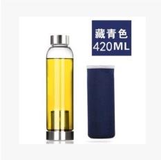 Ezy Botol Minum Kaca Infuser 420Ml Navy Terbaru