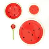 Jual Ezy Piring Mangkok Sendok Keramik Set Motif Buah Semangka Merah Lengkap
