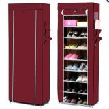 Jual Beli Online Ezy10 Tier Shoe Rack With Dustproof Cover Merah Maroon