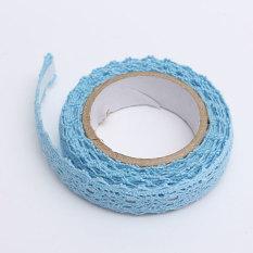 Kain Renda Washi Tape Pita Perekat Hiasan Katun Lusuh Chic Biru Pastel