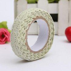 Fabric Lace Washi Tape Ribbon Cotton Trim Self Adhesive Shabby Chic Pastel Light Green - intl