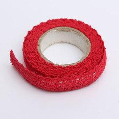 Kain Renda Washi Tape Pita Perekat Hiasan Katun Lusuh Chic Merah Pastel-Internasional