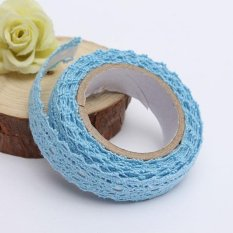 Kain Renda Washi Tape Pita Perekat Hiasan Katun Lusuh Chic Pastel Blue-Intl