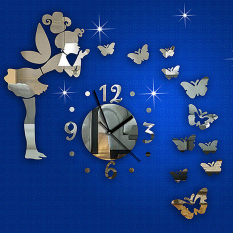 Ulasan Jam Modern Wanita Peri These Butterflies Stiker Cermin Dinding Rumah Stiker Art Silver