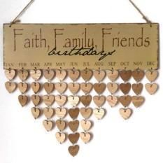 Faith Keluarga Teman Kalender Ulang Tahun Pengingat DIY Rumah Dinding Gantungan Dekorasi Mebel Gaya: faith Keluarga Teman Berbentuk Hati-Internasional