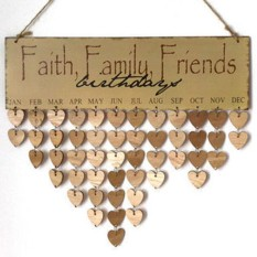 Faith Family Friends Birthday Calendar Reminder DIY Home Wall Hanging Decoration Furniture Style:Faith family friends heart-shaped - intl