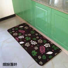Daun Jatuh Dicetak Dapur Lantai Tikar Anti-slip Karpet untuk Kamar Tidur Ruang Tamu Dustproof Masuk Keset Teras Yoga Mat (A) 50x120 Cm-Intl