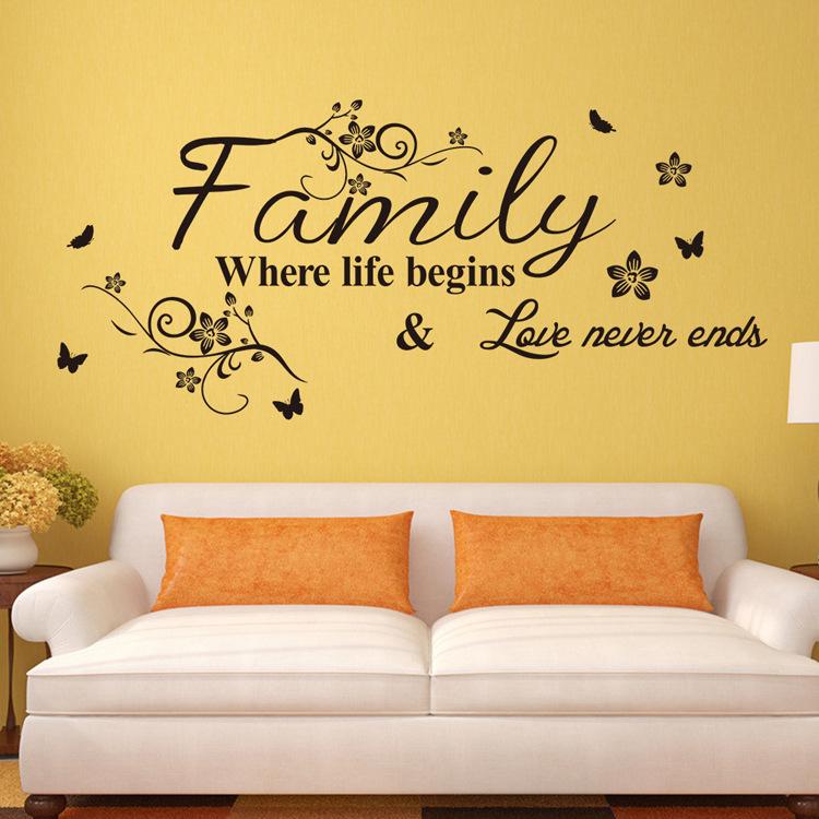 Keluarga Baru Bahasa Inggris Motto Bunga Rotan Sofa Kamar Tidur Hiasan Dinding Latar Stiker-Intl