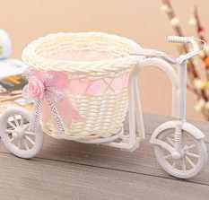 Fang Fang Bowknote Big Wheel Round Keranjang Rotan Mengapung Bunga Vas Pot Bunga Wadah (Pink)-Intl