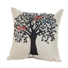 Fangfang Printing Cotton Sofa Bantal Cushion Cover, Hal-hal Baik Di Rumah, Pohon Besar-Intl