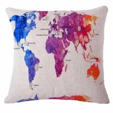 Fashion Kreatif Peta Pola Katun Linen Bantal untuk Home Dekorasi Kedai Kopi 45X45 Cm-Intl