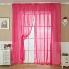 Jual Cepat Fashion Solid Color Tulle Door Window Curtain Drape Panel Sheer Scarf Valance Rose Red