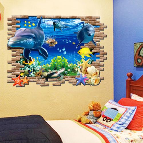 Modis Ruang Duduk Kamar Tidur Sofa Latar Belakang Stiker Dinding Bisa Lepaskan Kreatif 3 D Efek Hiasan Rumah Tangga Dinding Stiker- INTL