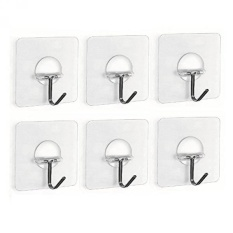 Fealkira 13.2lb/6kg(Max) Nail Free Transparent Reusable Heavy Duty Wall Hooks for Towel Loofah Bathrobe Clothes,No Scratch,Waterproof and Oilproof,Bathroom Kitchen Wall hook & Ceiling Hanger(6) - intl