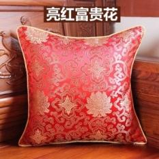 Feather Rose Gaya Cina Klasik Kaya Bunga Meriah Kayu Cina Mahoni Sofa Cushion Bantal Bantal Kembali Tanpa Inti- INTL
