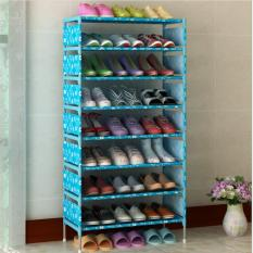 Feng Sheng Sederhana Bergaya Eropa Besi Tahan Debu Rak Sepatu Rak Kamar Tidur Ruang Tamu Bukan Tenunan Multi -layer Perakitan Rak-Pink/Biru-Intl