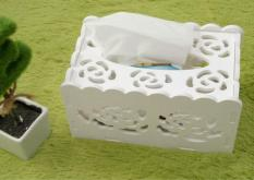 FengSheng Flower Shape Tissue Box Holder White Facial Tissue Napkin Dispenser Hotel Office Reception White - intl