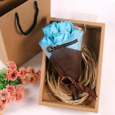 Promo Toko Festival Hadiah Tangan Bouquet Sabun Bunga Kotak Hadiah Biru Intl