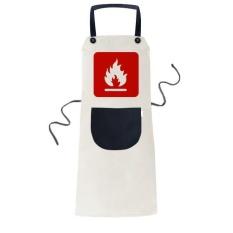 Fire Red Square Peringatan Mark Memasak Dapur Beige Adjustable Bib Apron Saku Women Pria Chef Hadiah-Intl