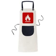 Api Merah Persegi Peringatan Menandai Memasak Dapur Krem Dapat Disesuaikan Bib Celemek Saku Wanita Pria Chef Hadiah-Internasional