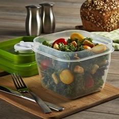 Sesuai & Fresh Salad Spinner Wadah Plastik Bekas Pakai dengan Dressing Dispenser dan Paket Es Sehat Lunch Kotak Set, kapasitas 4 Cangkir, Bpa Gratis-Internasional