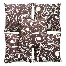 Flanelade Sarung Bantal Sofa Motif Bunga Cream - Coklat - 5 Buah