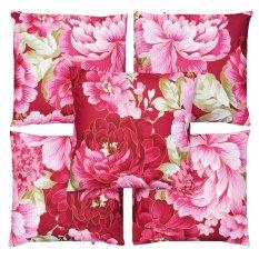 Harga Flanelade Sarung Bantal Sofa Motif Bunga Maybeline Merah 5 Buah Satu Set