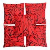 Promo Flanelade Sarung Bantal Sofa Motif Sycamore Merah 5 Buah