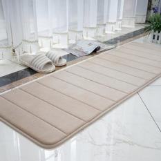Flanel Non-slip Dapur Lantai Tatakan Penyerap Air Solid Warna Garis Vertikal Karpet untuk Kamar Mandi Serambi Yoga Mats (Kopi Ringan) 40x120 Cm-Intl