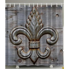Fleur De Lis Shower Curtain Home Antiques Decor by Ambesonne, Peacock Flower Lily Rusty Antiqued Wood Silver Medieval Door Bell French Saints Symbol Rustic for Bathroom Fabric Shower Curtain, Charcoal - intl