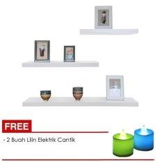 Floating Shelves Ambalan Dekorasi - Rak Dinding / Rak Buku Minimalis Set 3 Pcs + Free 2 Buah Lampu Lilin Elektrik Cantik