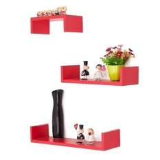 Floating Shelves Ambalan - 3Pcs Rak Dinding Minimalis Model U Elegan 40cm 30cm 20cm