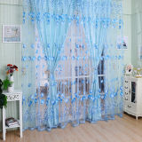 Jual Floral Tulle Voile Door Window Curtain Drape Panel Sheer Scarf Valances Divider Blue