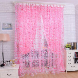 Toko Floral Tulle Voile Door Window Curtain Drape Panel Sheer Pink Oem Tiongkok