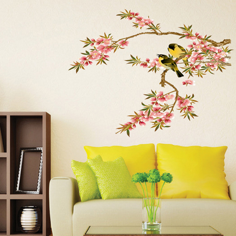 Bunga Burung Dinding Decal PVC Rumah Sticker Rumah Vinyl Dekorasi Kertas WallPaper Ruang Tamu Kamar Tidur Dapur Art Picture DIY Murals Girls Boys Kids Nursery Baby Playroom Decor-Intl