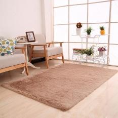 Fluffy Rugs Anti-Skid Shaggy Area Ruang Makan Karpet Kamar Tidur Karpet Lantai Mat Brown-Intl