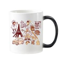 Food Cooker France Eiffel Tower National Flag Architecture Custom Landscape Illustration Pattern Morphing Heat Sensitive Changing Color Mug Cup Milk Coffee With Handles 350 ml - intl