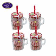 Jual Beli Formia Gelas Juice Jar Dekor Flower 450Ml Red 4Pcs Di Dki Jakarta