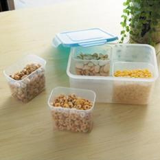 Empat Tabel Tertutup Rak Kulkas Plastik Makanan Penyimpanan Kontainer Kotak Kesegaran Dapur Persediaan (biru) 22,5X16x10,2 Cm-Internasional