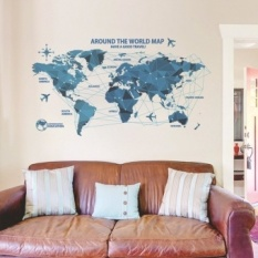FRD Creative World Map Wall Stiker Science Technology Origami Mapwalldecal Home Decor Art Ruang Tamu Kamar Tidur Latar Belakang Wallpaper-Internasional
