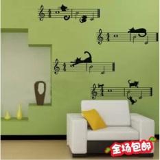 FRD Anak-anak TK Stiker Kartun Lima Line Spectrum Noteswallpaper Kelas Bedroom Backdrop Kreatif Cat Musik Dinding Stiker-Intl