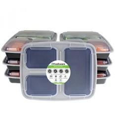 [Dari. AMERIKA SERIKAT] Freshware 7-Pack 3 Kompartemen Bento Kotak Makan Siang dengan Lids-Stackable, Reusable, Microwave, Dishwasher & Freezer Safe-Persiapan Makan, Kontrol Porsi, 21 Day Fix & Makanan Wadah Penyimpanan (32 Oz) B01GH5KV3M-Intl