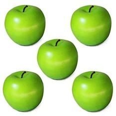 FS Besar Penjualan 1/5/10 Pcs Plastik Dekoratif Buatan Apple Tiruan Palsu Fruit Rumah Pesta Dekorasi Warna: hijau Total Qty: 5X
