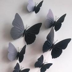 FS Besar Penjualan 12 Pcs Mensimulasikan 3D Kupu-kupu Dinding Stiker dengan Magnet Elegan Colourful Hiasan Dinding Mural untuk Kulkas Komputer televisi Backdrop Dinding Ruang Tamu Kamar Tidur Spesifikasi: murni Hitam