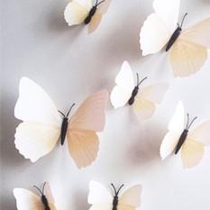 FS Besar Penjualan 12 Pcs Mensimulasikan 3D Kupu-kupu Dinding Stiker dengan Magnet Elegan Colourful Hiasan Dinding Mural untuk Kulkas Komputer televisi Backdrop Dinding Ruang Tamu Kamar Tidur Spesifikasi: murni Putih