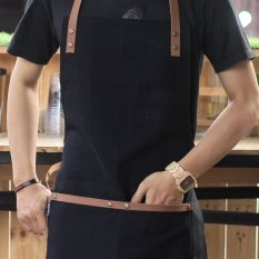 Harga Full Apron Celemek Canvas And Synthentic Leather For Barista Chef Barber Black Yang Murah Dan Bagus